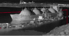 A thermal image of a docked LNG tanker-ship