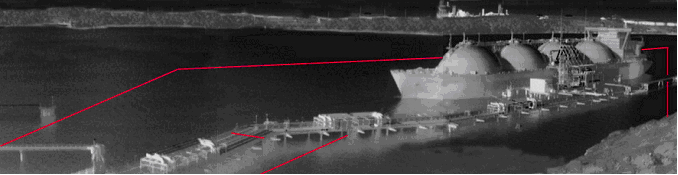 A thermal image of a docked tanker with a virtual perimeter fence